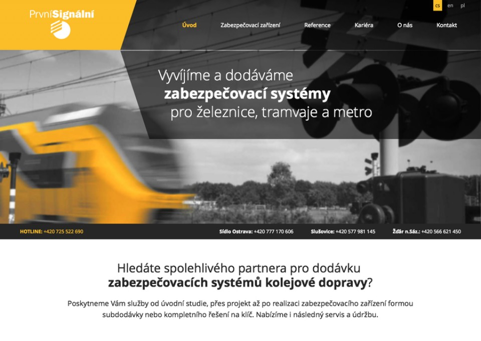 Náhled projektu První Signální  - Úvodní stránka