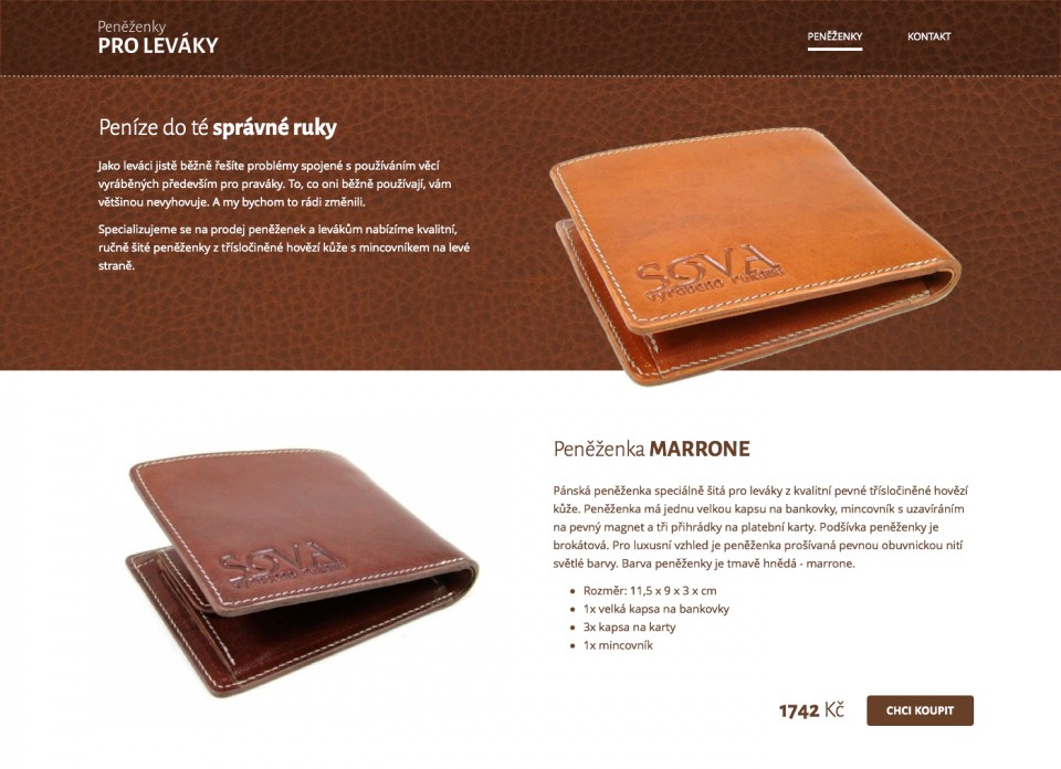 Náhled projektu Peněženky pro leváky  - Úvodní stránka