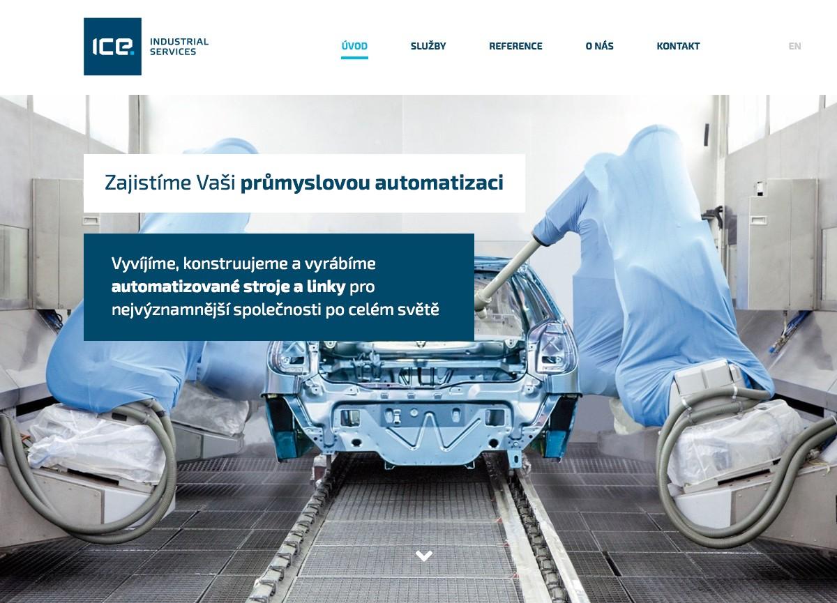 Náhled projektu ICE Industrial Services  - Úvodní stránka