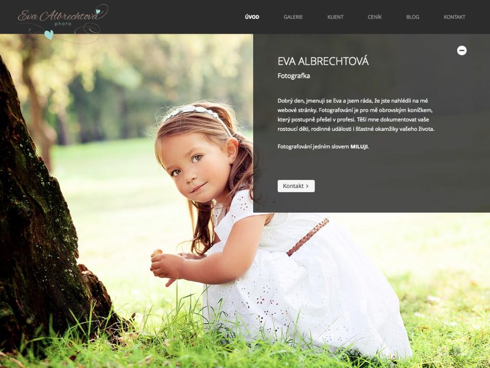 Náhled projektu Fotografka Eva Albrechtová  - Úvodní stránka