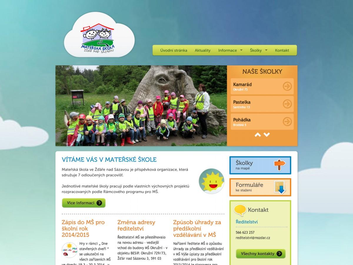 Náhled projektu Mateřská škola Žďár  - Úvodní stránka
