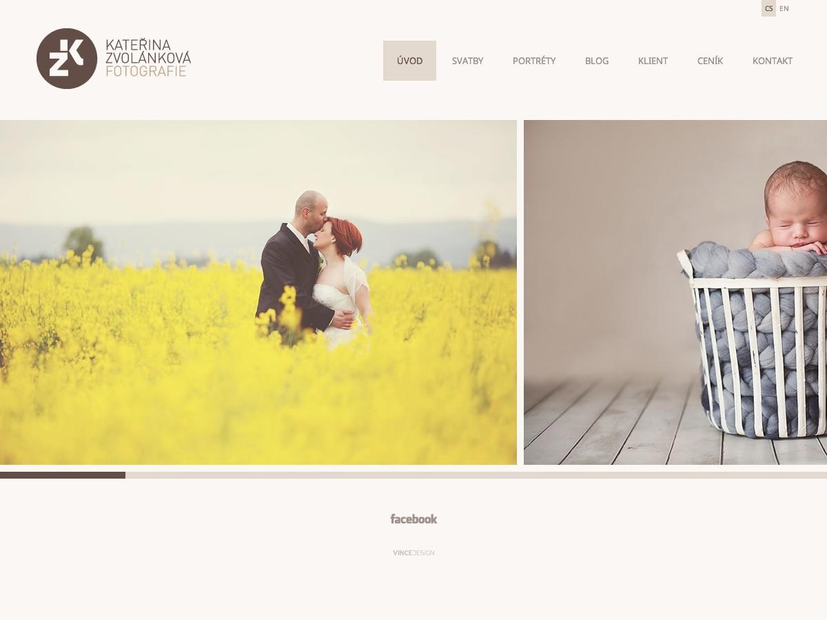 Náhled projektu Fotografka Kateřina Zvolánková  - Úvodní stránka