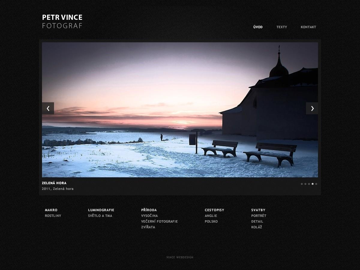 Náhled projektu Fotograf Petr Vince  - Úvodní stránka