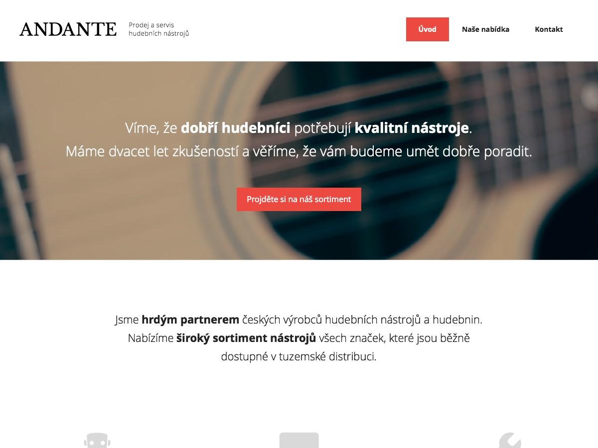 Náhled projektu Hudebniny Andante  - Úvodní stránka