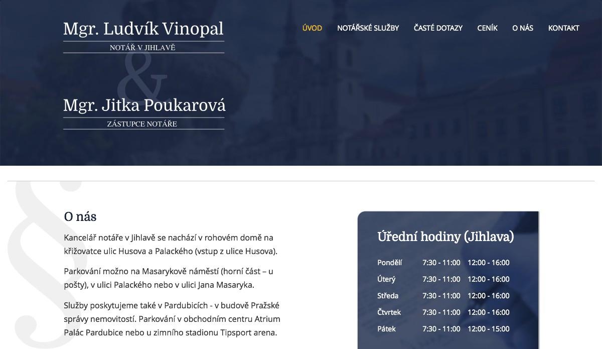 Náhled projektu Mgr. Ludvík Vinopal, notář v Jihlavě